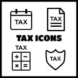 Tax money, finance business, document. Line tax icons. Tax money, finance tax business, document tax. Vector illustration Royalty Free Stock Images