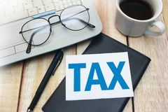 TAX, Motivational Business Words Quotes Concept stock photography