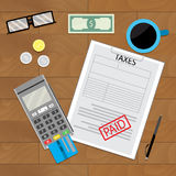 Tax paid, document. Financial paying terminal. Vector illustration Stock Photo