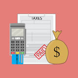 Tax paid graphic,. Sack money witth tax form. Vector illustration Stock Photos