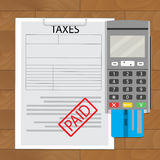 Tax paid top view. Finance paying accounting, financial budget vector illustration Royalty Free Stock Image