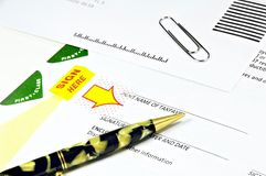 Tax Papers and Antique Pen Royalty Free Stock Image