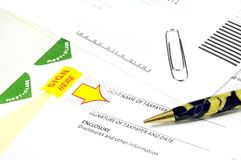 Tax Papers and Antique Pen stock photo