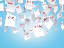 Tax papers flying Royalty Free Stock Photos