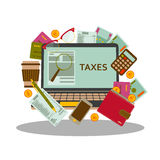 Tax payment concept. Business background in flat style. Vector illustration. Tax payment concept. Business background in flat style Stock Images