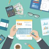 Tax payment concept. State Government taxation, calculation of tax return. Man fills the tax form, documents. Pay the bill. S, invoices, payrolls. Vector stock illustration