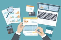 Tax payment concept. State Government taxation, calculation of tax return. Man fills the tax form, documents, calendar, calculator. Laptop. Pay the bills Stock Images