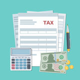 Tax payment concept. State taxes, calculation. Top view. royalty free illustration