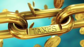 Tax payment concept. Tax symbol on gold chain with falling coins. Finance and investment concept Royalty Free Stock Photos