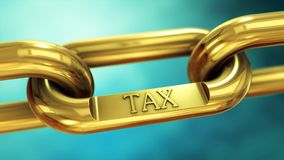 Tax payment concept. Tax symbol on gold chain. Finance and investment concept Royalty Free Stock Images