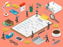 Tax payment flat isometric vector concept. Tax report is lying surrounded by the people and corresponding attributes Stock Photography