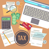 Tax payment, savings, calculation, income declaration, taxation, state taxes flat vector concept. Tax paper business, illustration of accounting tax document Royalty Free Stock Photography