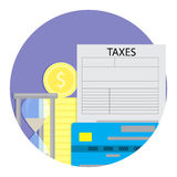 Tax payment time. Taxation from credit card. Vector illustration Royalty Free Stock Photos