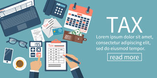 Tax payment vector. Tax payment. Data analysis, paperwork, financial research, report. Businessman calculation tax government, state. Calculation return. Flat Royalty Free Stock Photos