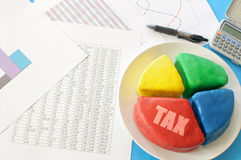 Tax pie chart Stock Photos