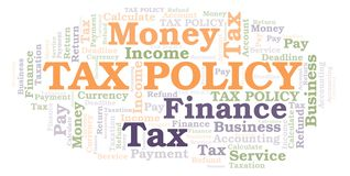 Tax Policy word cloud. Wordcloud made with text only stock illustration