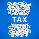 Tax poster. With blue background Royalty Free Stock Images