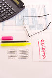 Tax preparation supplies, reading glasses and tax forms. Tax preparation supplies, reading glasses and blank tax forms royalty free stock photos