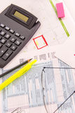 Tax preparation supplies, reading glasses and tax forms. Tax preparation supplies, reading glasses and blank tax forms stock photos