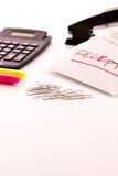 Tax preparation supplies and receipts Royalty Free Stock Photos