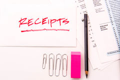 Tax preparation supplies and tax forms. Tax preparation supplies and blank tax forms royalty free stock image