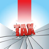 Tax Pressure Test. Vector illustration of tax text smashed to the breaking ground with red arrow Royalty Free Stock Photography