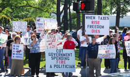 Tax Protest. Protestors upset about government spending of taxes stock images