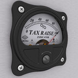 Tax raise indicator. Analog indicator showing the level of tax raise. 3D Illustration. Isolated Stock Photography
