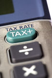 Tax Rate Calculator. Photograph of a tax rate calculator on a white back ground stock photography