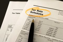 Tax rate schedules. Tax tables macro, business and finance concept stock photo