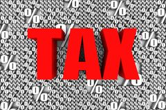 Tax Rates. TAX 3D text surrounded by percentage sign symbol. Part of a series Stock Photo