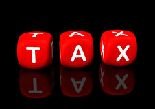 TAX red cubes. Red cubes with the text tax. Black background Stock Photo