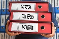 Tax reform concept words. Folder concept. Ring binders. Conceptual Business Royalty Free Stock Photos