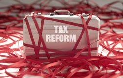 Tax reform red tape. Red tape around a briefcase with tax reform Stock Photography