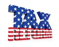 Tax Reform with United States Flag Isolated. On white background. 3D render Stock Photos