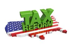 Tax Reform with United States Map Isolated Royalty Free Stock Images