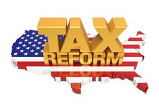 Tax Reform with United States Map Isolated. On white background. 3D render Royalty Free Stock Images