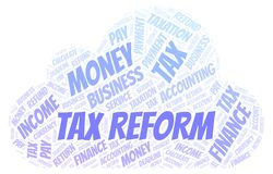 Tax Reform word cloud. Wordcloud made with text only vector illustration