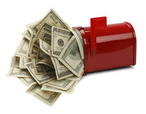 Tax Refund. Red Mail Box with Money Pouring Out Isolated on White Background Royalty Free Stock Photo