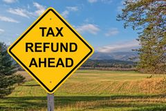 Tax Refund Ahead Caution Sign stock image