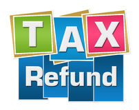 Tax Refund Colorful Stripes Squares. Tax refund text written over colorful background Royalty Free Stock Photos