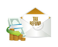 Tax refund envelope and bills. illustration design Royalty Free Stock Photo