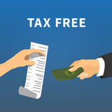 Tax refund. Exchange a check for the money, flat Stock Images