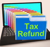 Tax Refund Folders Laptop Show Refunding Taxes Paid Royalty Free Stock Image