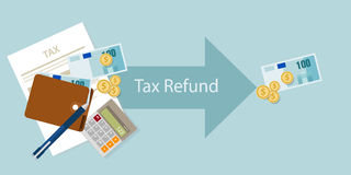 Tax refund money cash after calculation illustration Royalty Free Stock Photo