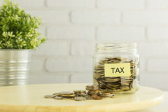 Tax refund planning for  saving money Stock Image