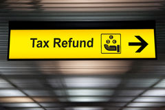 Tax refund sign at the airport.  Royalty Free Stock Image