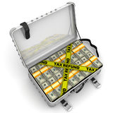 Tax refund. Suitcase full of money. A suitcase filled with packs of American dollars and yellow tapes with text `TAX REFUND`. Isolated. 3D Illustration Royalty Free Stock Image