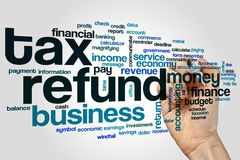 Tax refund word cloud. Concept on grey background Royalty Free Stock Image