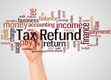 Tax Refund word cloud and hand with marker concept. On white background royalty free stock photos